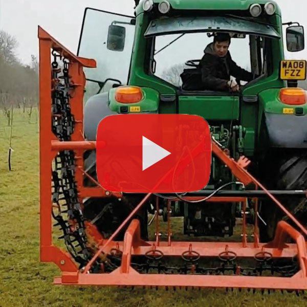 Rear mounted hydraulic folding chain harrow in 4m, 5m & 6m widths